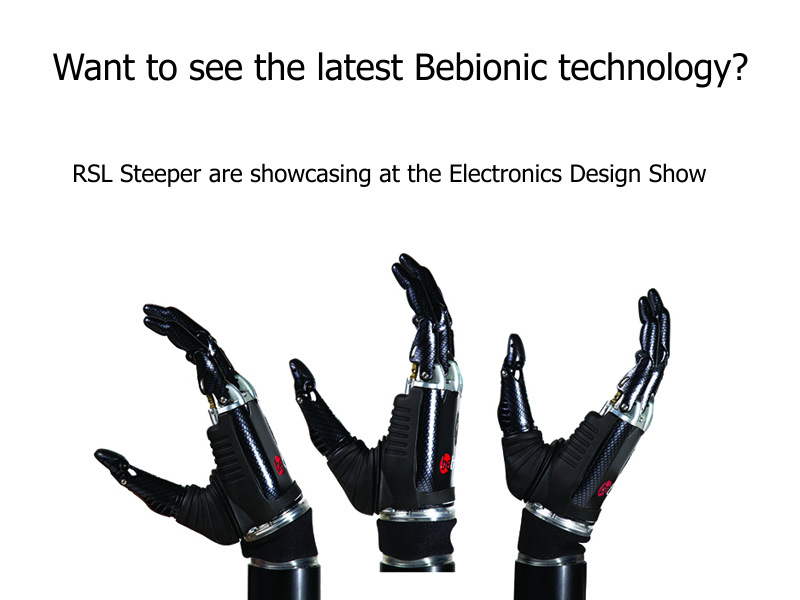 RSL Steeper's Bebionic hand at the Electronics Design Show 2014.